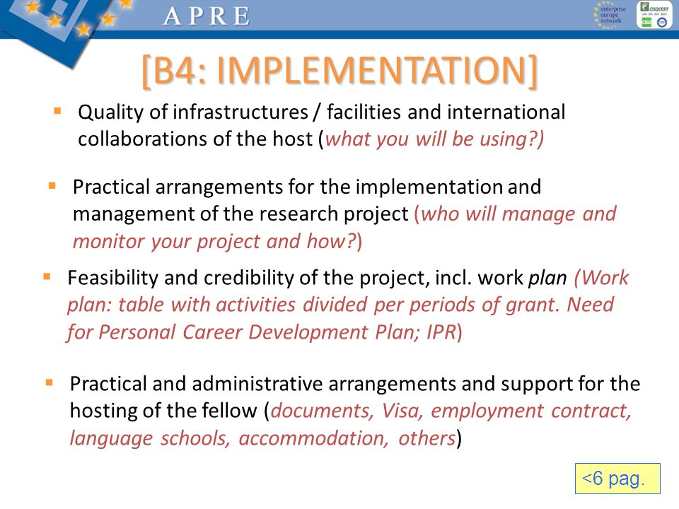 [B4: IMPLEMENTATION] Quality of infrastructures / facilities and international collaborations of the host (what you will be using )